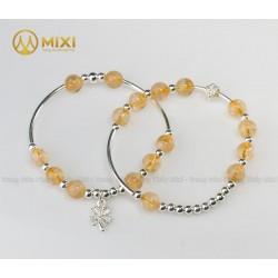 VT Đá Thạch Anh Vàng 2A_8 Mix Charm Cỏ 4 Lá Bạc 999_BBL03_M - Mixi